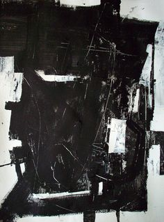 abstract paintingl 48 x 36 black and white modern art abstract minimalist geometric custom made painting by DJ DOMI