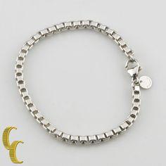 "Tiffany & Co. Sterling Silver Venetian Link Bracelet 7.25"" Retail = $200 Great! #TiffanyCo #Chain"
