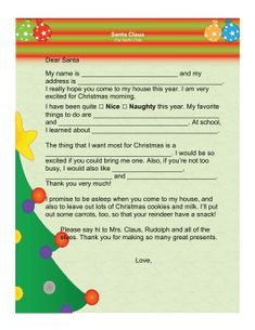 This letter from santa is ideal when the child has already written great for kids who need a little prompting this printable letter to santa just needs spiritdancerdesigns Images
