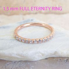 CZ Rose Gold Eternity Ring 1.5 mm Thin Wedding Band Micro Pave High Quality Imitation Diamond Stacking Ring Gold & Rhodium plating by LasyaJewelry on Etsy