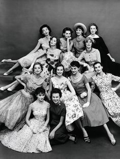 Eileen Ford, bottom in the dark dress, with 11 of her models from 1955. Mrs. Ford co-founded Ford Models one of the most influential modeling agencies in the history of fashion. She died on July 10, 2014 at the age of 92.