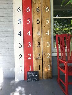 Hand painted wooden Height chart rulers