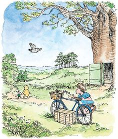 Christopher Robin was polishing his bicycle when the others arrived
