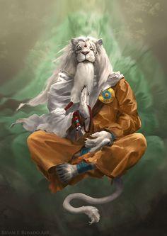 ArtStation - Ajani the Transcended, Bryan Fogaça Rosado Fantasy Character Design, Character Concept, Character Art, Concept Art, Character Inspiration, Fantasy Warrior, Fantasy Rpg, Fantasy Artwork, Mythical Creatures Art