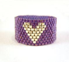 Purple Heart Ring Beaded Heart Jewelry Silver by JewelleryByJora Loom Bracelet Patterns, Beaded Bracelets Tutorial, Bead Loom Bracelets, Beading Patterns, Beaded Rings, Beaded Jewelry, Heart Jewelry, Heart Ring, Beaded Bracelets