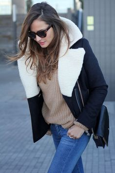 Wool blue perfecto jacket with sheepskin lining, jeans, beige knit, black ankle booties (Lady Addict)