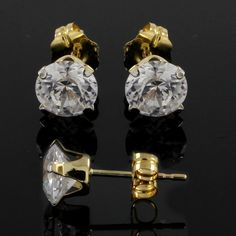 1.60 ct Round Cut VVS Diamond 14k Solid Yellow Gold Stud Earrings Push Back G913 #SolitaireStud