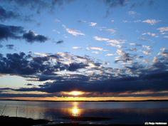 Sunset on the lake called Oulujärvi Finland Midnight Sun, Sun Moon, Sunrise, Sky, Mountains, Nature, Photography, Travel, Image