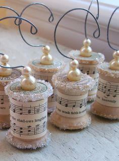 Ornaments Made From Vintage Spools with music paper