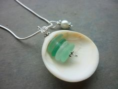 Teal Sea Glass Necklace  Sea Shell Teal Blue by TheMysticMermaid, $25.00