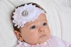 White Baby HeadbandWhite Baby Bow...Baptism by LittleMissBlingNYC, $12.95