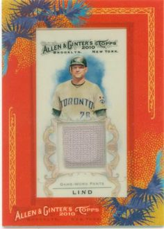 Original 2010 Topps Allen & Ginters Adam Lind Game Worn Pants Swatch Card.