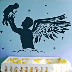 Transform your children's room into an imaginary world with our wall decals for kids! Visit our site to learn more about our free domestic U. Kids Wall Decals, Nursery Wall Decals, Wall Stickers, Fairy Nursery, Black Wall Decor, Diy Angels, Angel Crafts, Black Walls, Wall Patterns