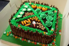 Vegetable garden / allotment cake with sugar paste / fondant vegetables! Matchmakers (chocolate sticks) fence.