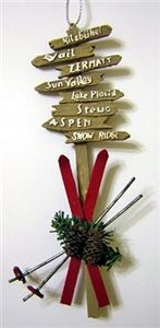 Ski resort signs with red skis ornament