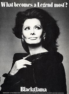 """Sophia Loren - Blackglama Mink """"What Becomes A Legend Most?"""" Ad Campaign (1983).......Uploaded By www.1stand2ndtimearound.etsy.com"""