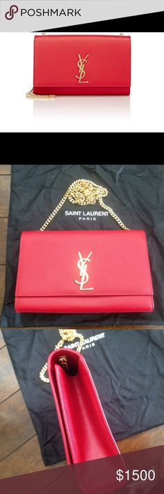"""Saint Laurent monogram Kate medium bag Saint Laurent red caviar-grained leather Monogram medium crossbody bag detailed with polished goldtone YSL logo.   Gusseted sides. Polished goldtone hardware. Lined with black faille. Small slip pocket at interior. Curb-chain strap. Magnetic snap closure. 5.75"""" height x 9.5"""" width x 2.0"""" depth (approximately). 17"""" strap drop (approximately) Made in Italy. Excellent condition, comes with proof of purchase Saint Laurent Bags Shoulder Bags"""