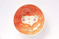 Orange ceramic serving bowl with character - face illustrated ceramic bowl - MADE TO ORDER on Etsy, 28,48 €