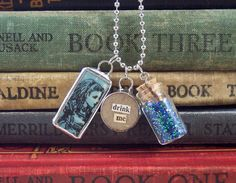 I think this Pine Tree Interest website is really going to depress me because I can't own half the stuff on here. It's like a shop, except you can't buy anything. Bottle Charms, Glass Bottle, Book Jewelry, Drink Me, Mad Hatter Tea, Message In A Bottle, Pine Tree, Disney Inspired, Blue Beads
