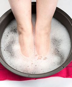 At home pedicure soak | 5 Tbsp baking soda. 1.5 C vinegar. hot water. soak for thirty minutes. pumice. lotion.