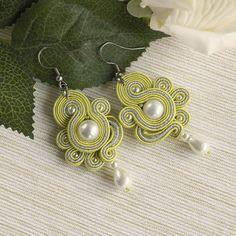 Light green dainty soutache earrings white pearl drop