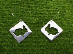 #jewelry #earrings #metalwork #silhouette #bunny #bunnies #silver #follow #me #alice #in #wonderland #animal #rabbits