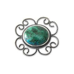 NOVICA Floral Sterling Silver Chrysocolla Brooch Pin (9.590 RUB) ❤ liked on Polyvore featuring jewelry, brooches, chrysocolla, clothing & accessories, peace pendant, peace sign pendant, blue jewelry, pin brooch and blue pendant