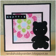 Randis hobbyverden: Barnekort med Bamse i rosa
