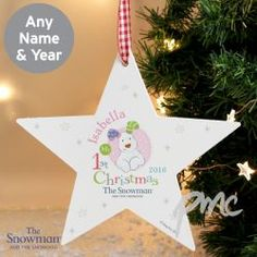 The Snowman and the Snowdog My 1st Christmas Pink Wooden Star Decoration