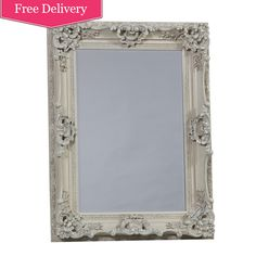 ornate cream french style mirror 'Kingston' Wall Mirror In Cream : Beau Decor