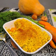 Crumble courge carottes au curcuma- IAMHUNGRY Grains, Rice, Food, Simple Recipes, Gourd, Carrots, Meal, Dish, Kitchens