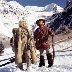 """Will Geer and Robert Redford ~ """"Jeremiah Johnson"""" (1972). Unforgettable tale of a man who decides to take to the mountains to escape his past. Geer - b New Hope, IN 1902"""