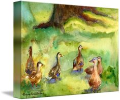 """Duck Meadow Animal Art Watercolor Painting"" by Miriam Schulman: The artist captured these ducks at a meadow on the grounds of the PepsiCo sculpture gardens in Purchase, New York. The original watercolor was part of a solo exhibition at the Rye Nature Center and..."