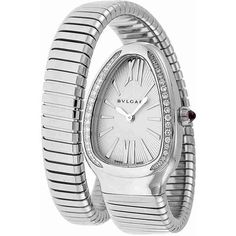 Bvlgari Serpenti Silver Dial Steel Bracelet Ladies Watch ($5,895) ❤ liked on Polyvore featuring jewelry, watches, bulgari watches, steel watches, water resistant watches, dial watches and bulgari jewelry
