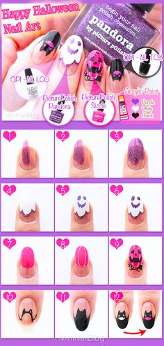 Purple Halloween Nail Art Tutorial