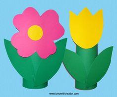 Semplici fiori facili da realizzare creati con cartoncini colorati. Idea da tenere presente come lavoretto per la Primavera e per la Festa della Mamma. LAV