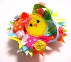 Easter Hair Bow / Boutique Easter Chick Hair Bow /  by tiarasnbows, $11.00