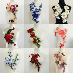f1 7 pcs White Organza Embroidery 3D Lace Flower Fabric Appliques with Peal Beads Crystal Iron On Patches DIY Decoration for Clothing Backpacks Jeans Caps Shoes Dress Bridal Wedding