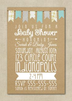 Baby Shower Invitation Neutral Boy Girl Yellow by ThePaperFairie