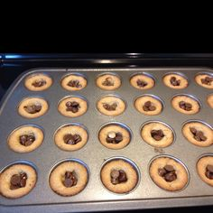 Homemade peanut butter cookie with chocolate chips in the center in a mini cupcake pan.