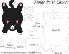 Molde Porta Caneca Gato Preto - Molde para EVA - Feltro e Artesanato