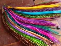 Rainbow Feather Extensions Grizzly Bright Colorful Discount long feather hair extensions, 25 hair feathers ALL DYED fashion accessories via Etsy