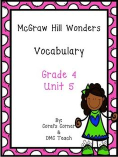This 5th grade Vocabulary Routine is aligned to  McGraw Hill Wonders for Grade 4, Unit 5 (Weeks 1-5)   It contains all vocabulary words, definitions, examples, and a question for students to respond.