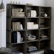 Just crates. You can buy em at Joanns for $9 and stain or paint.  I think I might do this to replace 3 of the 4 bookcases I have, they would be easier to move and I could set them up like this if I had room, or separate them if I need them on different walls.