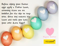 Easter is around the corner! Decorate your eggs using #Towerhearts for a cute twist! www.towerproducts.co.za