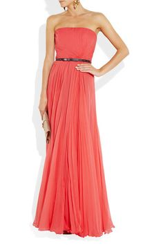 Coral-blush plisse silk-chiffon Strapless, boned sides, gold spike-studded black leather waist belt, fully lined Concealed zip and hook fastenings at back 100% silk; lining: 96% silk, 4% elastane Dry clean