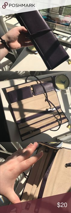 Purple Leather Jewelry Case Perfect condition! No trades! levenger Bags Travel Bags