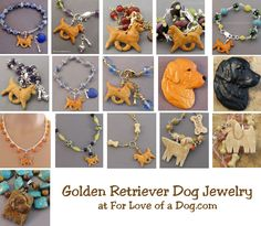 Handmade Golden Retriever dog jewelry gifts at ForLoveofaDog.com on sale with free shipping.