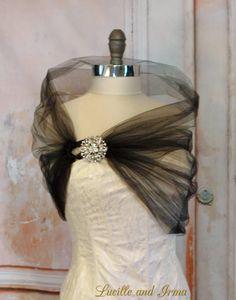 Black Tulle Evening Shawl Bridal Shawl Shrug by LBIaccessories