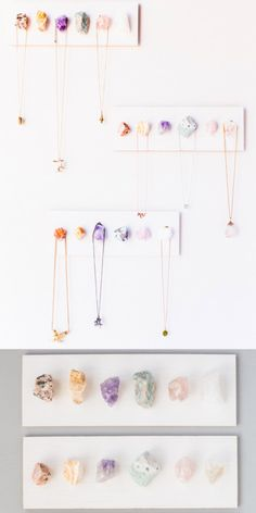 diychristmascrafts:DIY Rough Crystal Necklace Display Tutorial from Julep.Another easy to make jewelry display that is pretty and functional. Below is a representation of rough crystals you can buy on Amazon - 3 lbs, 12 stones for $16.95 (Amazon link at Julep's post).For more DIY jewelry displays (including ideas for craft fairs) go here: truebluemeandyou.tumblr.com/tagged/jewelry-displayand for beautiful rough crystal jewelry DIYs go…